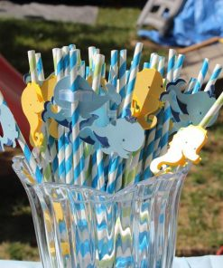 whale ans sea horse party straws