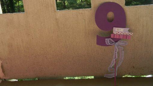 purple birthday theme centerpiece