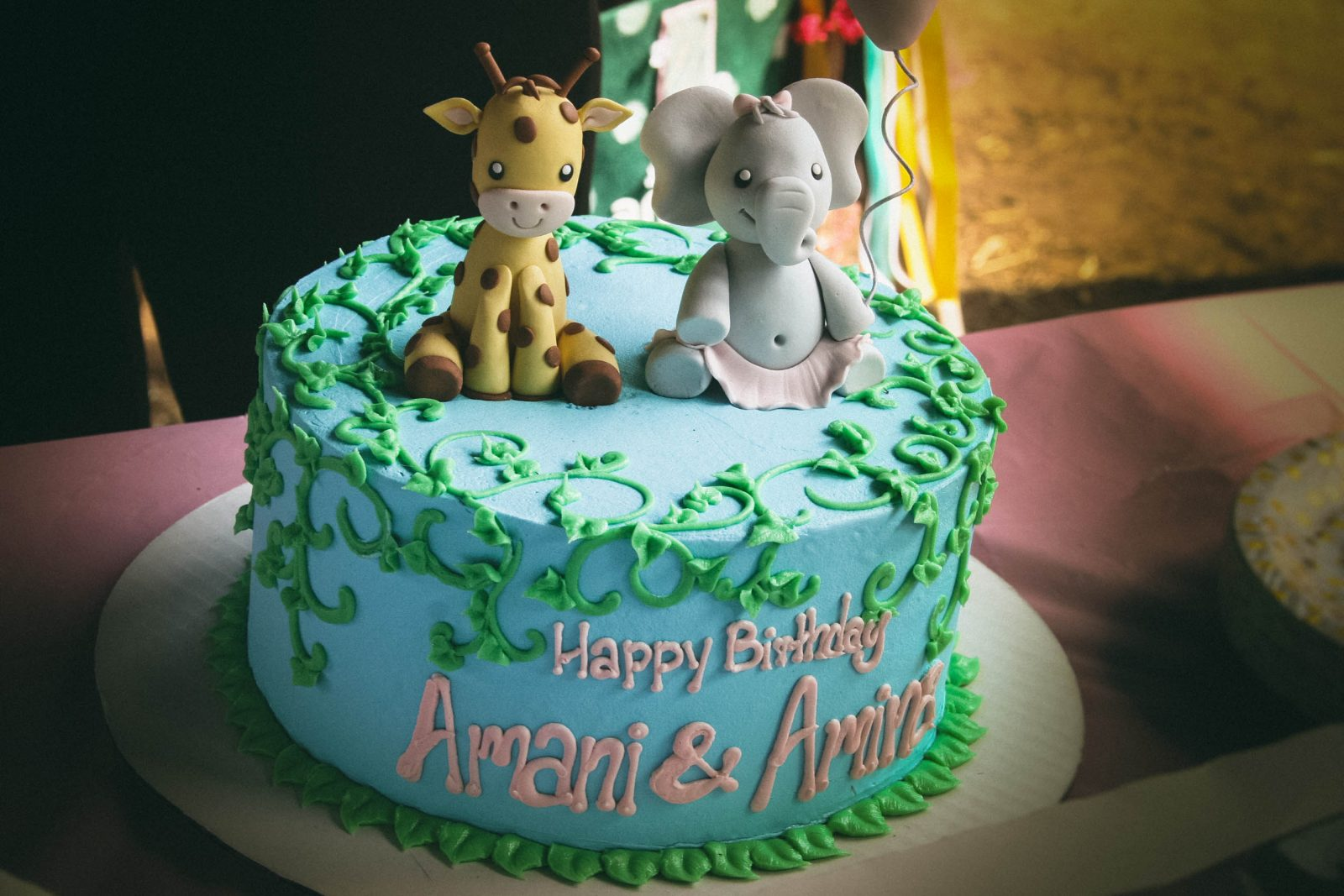 giraffe and elephant first birthday cake