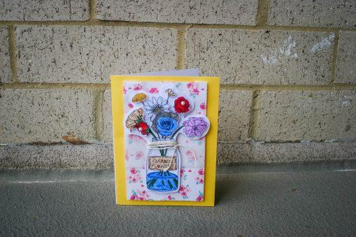 Mason jar with flowers card