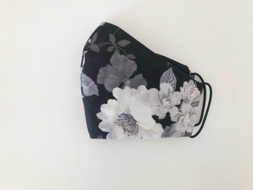 black and white floral mask