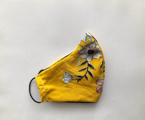 bright summer yellow with flowers mask