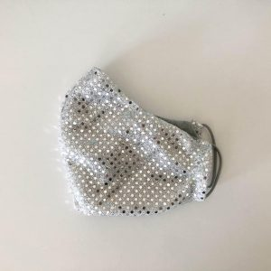 gray sparkly glitter mask