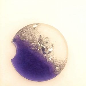 purple with silver flakes car coaster